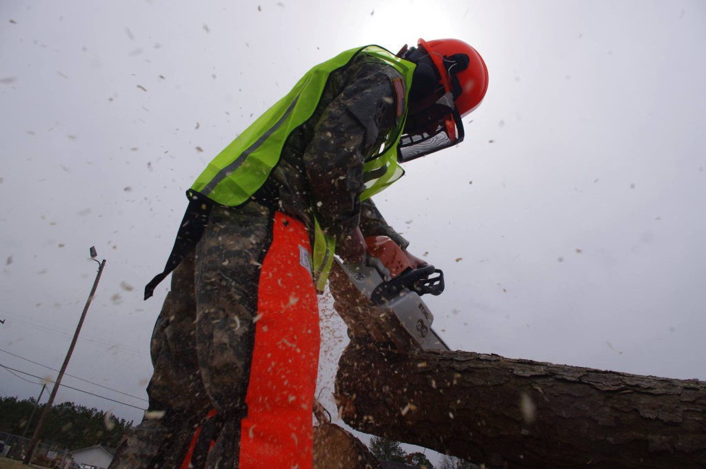 tree service from raleigh treains the national guard on chainsaw safety